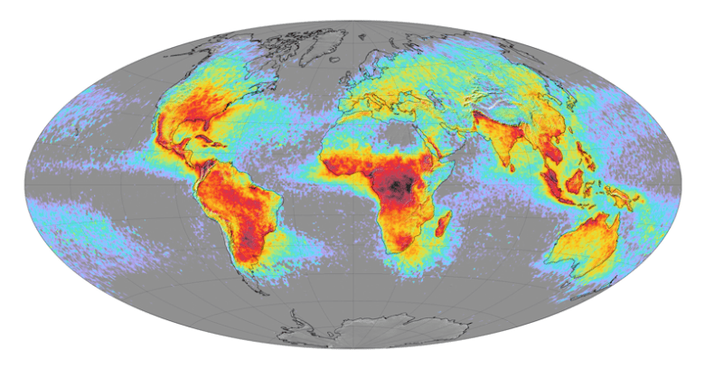 World map of lightning activity