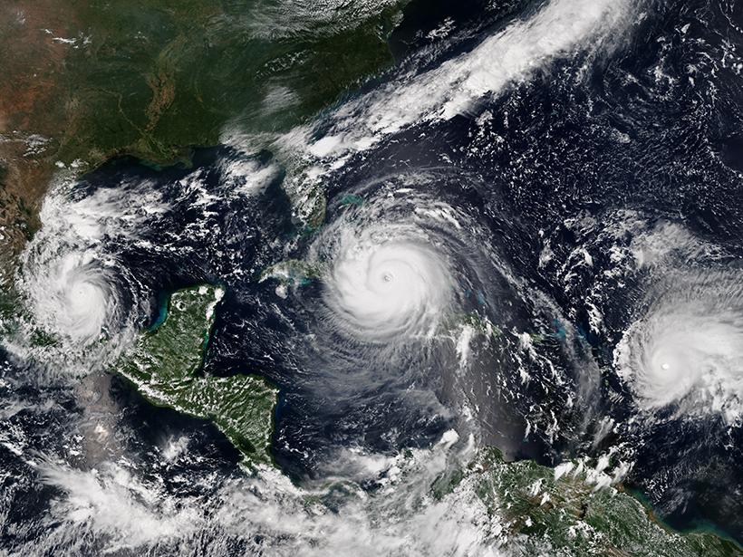 Satellite image of Hurricanes Katia, Irma, and Jose