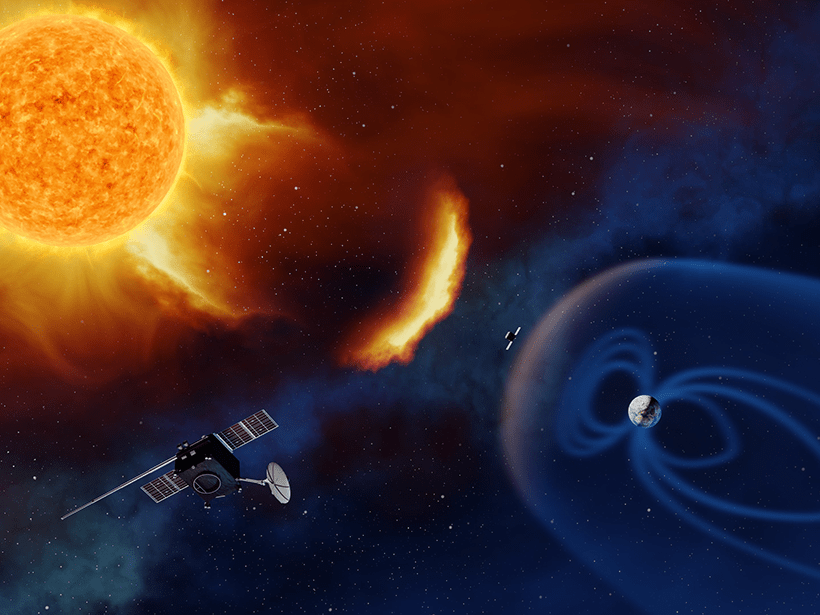 Artist's illustration of the Lagrange mission under consideration by the European Space Agency showing two spacecraft situated between the Sun and Earth