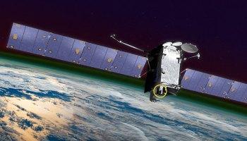 Artist's illustration of the SES-14 communications satellite above Earth
