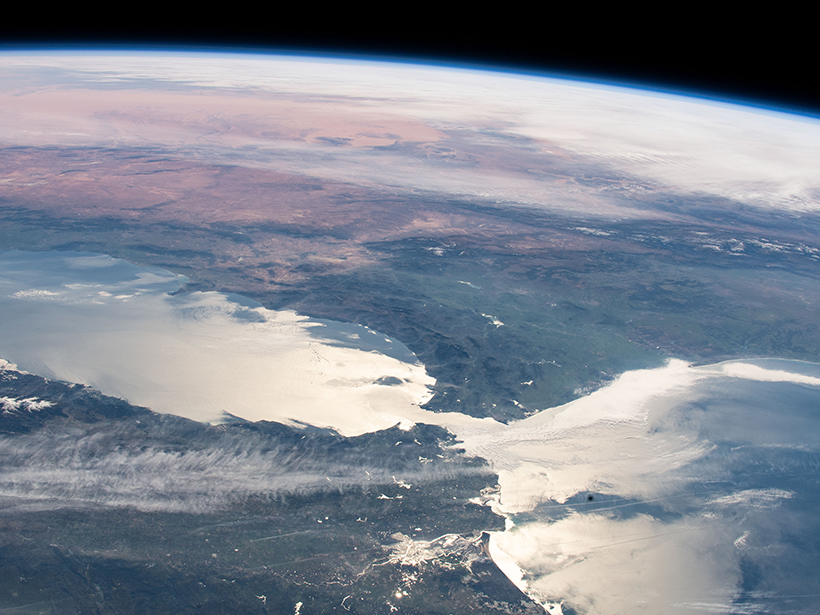 Portions of Europe (foreground) and North Africa are seen in this view from the International Space Station.