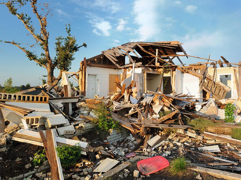 A home severely damaged by a tornado