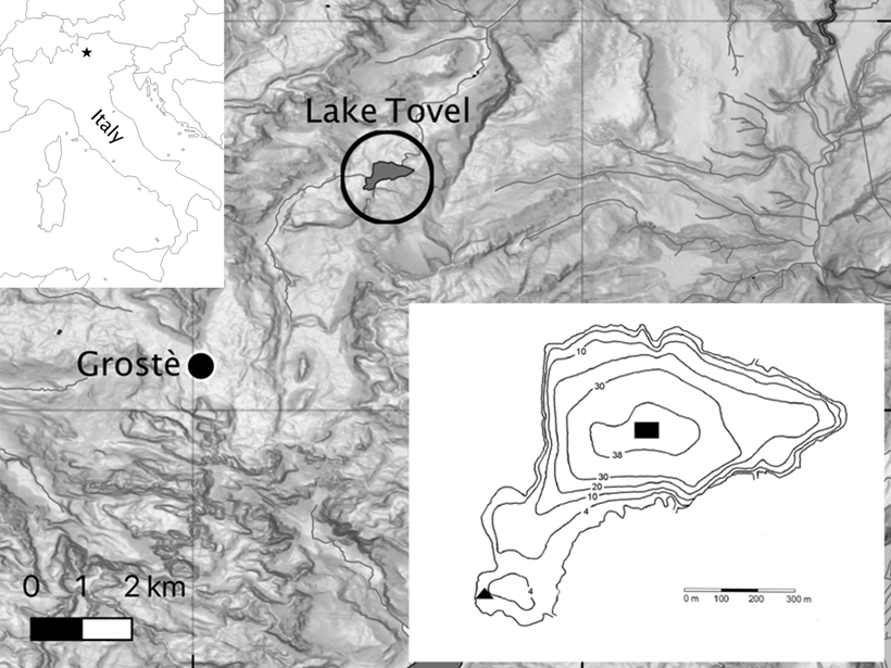Map showing the location of study in northern Italy and inset image showing bathymetry of Lake Tovel