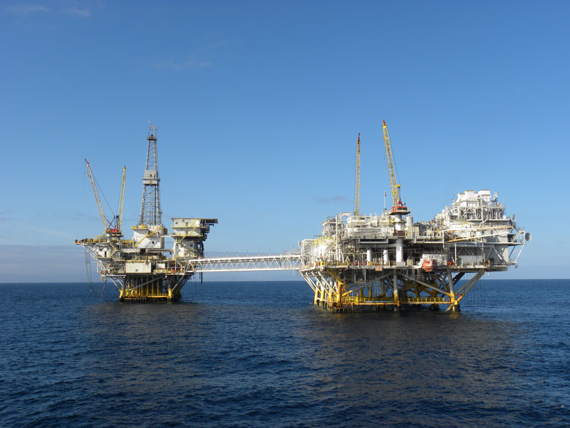 Two oil-drilling platforms off the Long Beach, Calif., coast