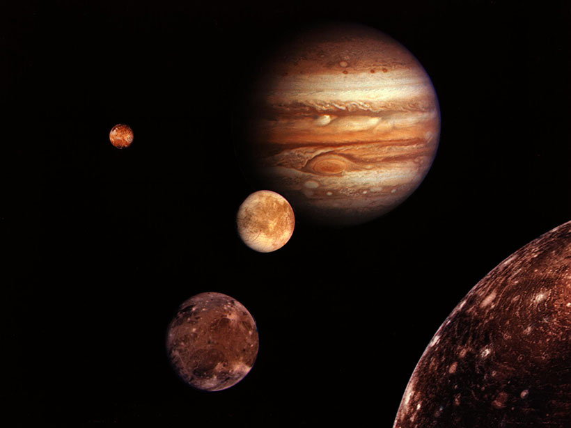 An image depicting Jupiter and its four largest moons