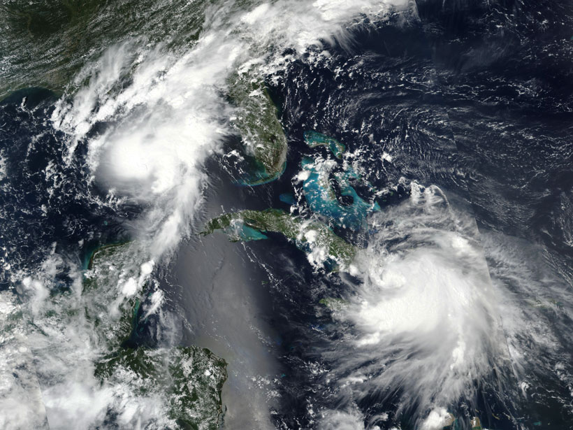 Satellite image of storms Laura and Marco in the Caribbean and Gulf of Mexico