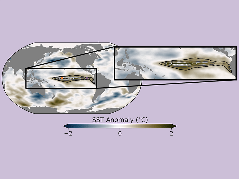 Diagram showing sea surface temperature (SST) anomalies in February 1987