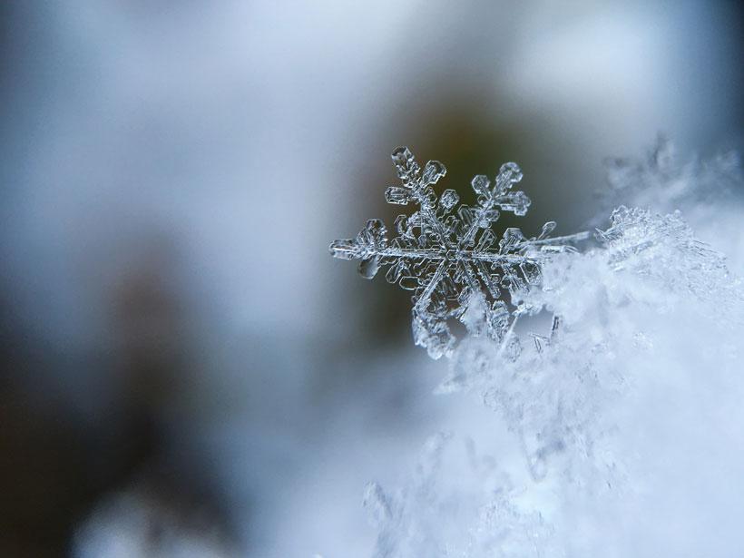 A close up image of a snowflake