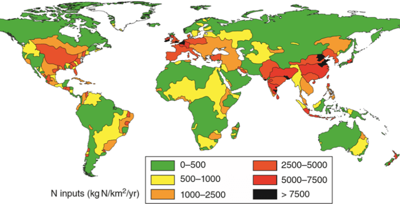 World map showing estimated net anthropogenic reactive nitrogen inputs to the main river basins around the world