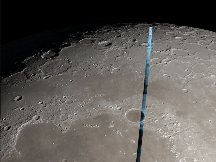 Hydration (in blue) on the lunar surface as observed from the NASA Infrared Telescope Facility overlain on an image of the Moon
