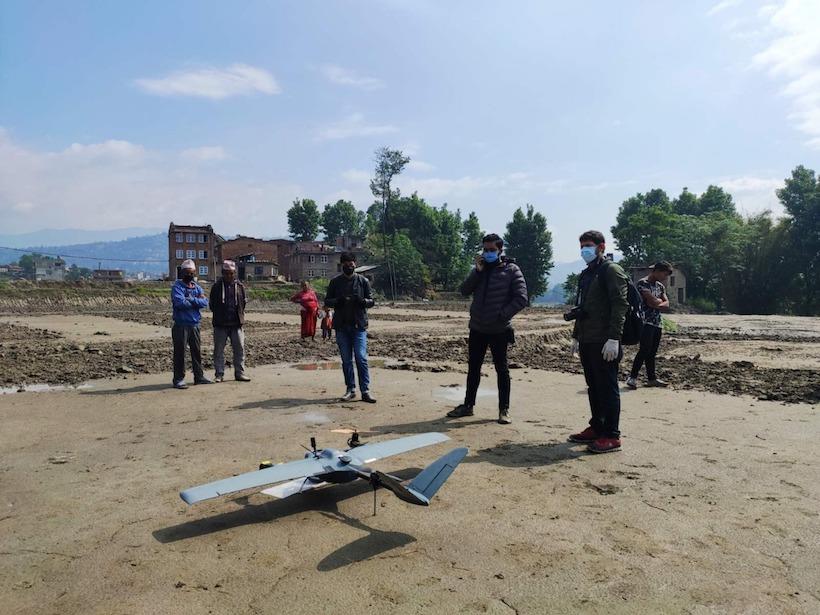 Drone survey fieldwork in Changunarayan municipality in April 2020
