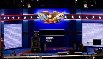 Presidential debate stage preparations in 2016