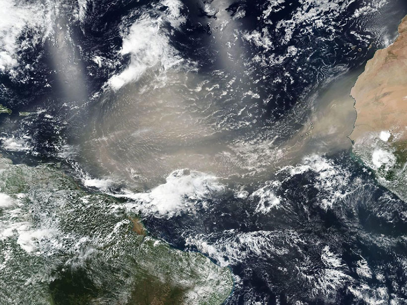Satellite imagery showing a dust cloud spanning the tropical North Atlantic on 20 June 2020
