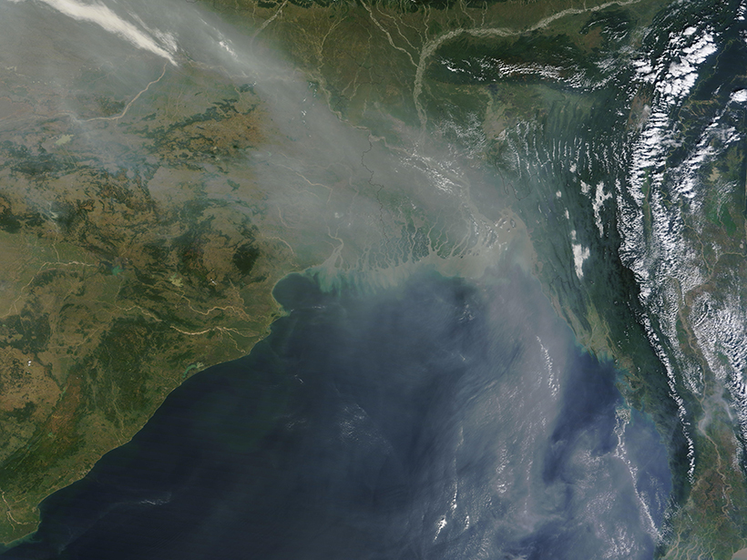 Haze covers portions of Bangladesh, eastern India, and the Bay of Bengal in this satellite image