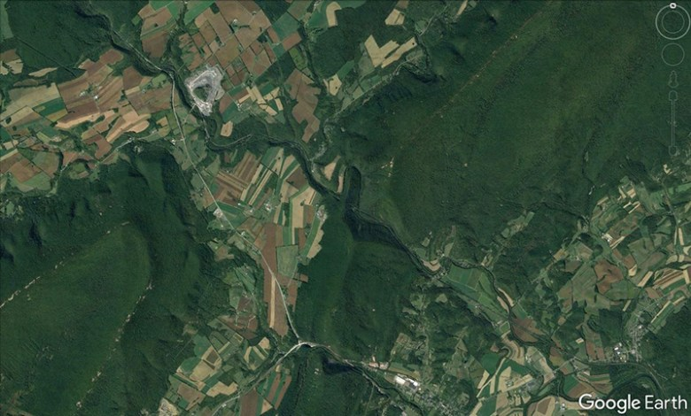 Satellite image of forested areas and farmland in Pennsylvania