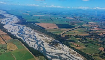 Aerial image of the braided channels of the Waimakariri River