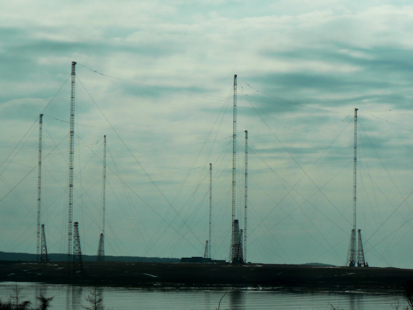 Radio towers at the VLF Transmitter Cutler in Maine