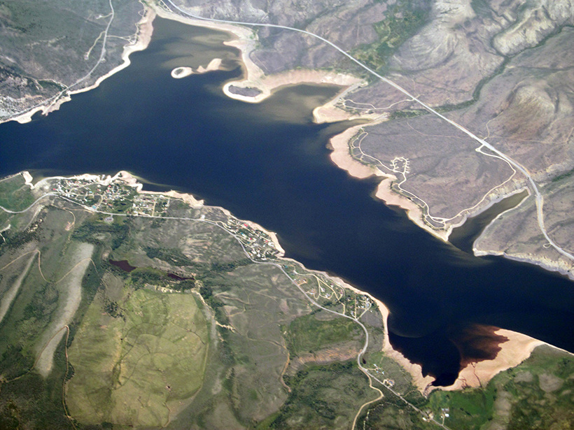 Aerial view of the Green Mountain Reservoir and Heeney, Colo., in 2017