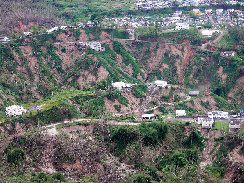 A view of landslides in the mountains of Puerto Rico after the extreme rainfall from Hurricane Maria in 2017