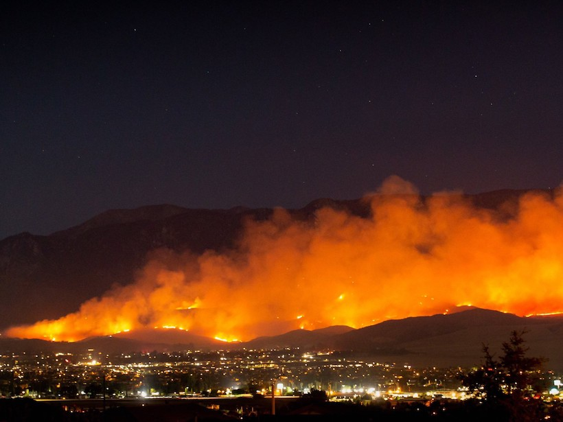 The Apple Fire burns north of Beaumont, Calif., on the evening of 31 July 2020.