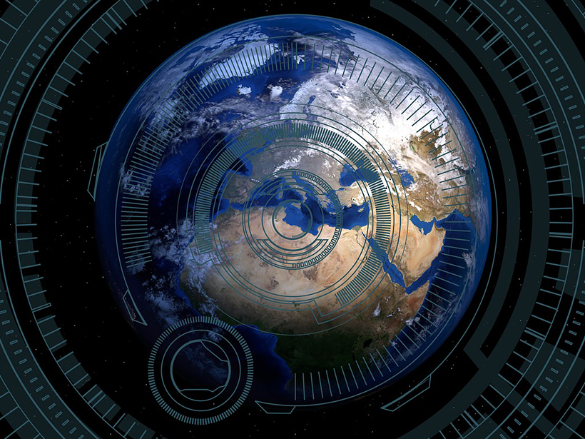 Illustration of Earth overlaid with computerized graphics