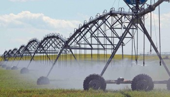 A farm field in southern Alberta, Canada, is irrigated