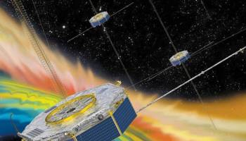 A colorful depiction of the four Magnetospheric Multiscale mission satellites traversing Earth's magnetic field