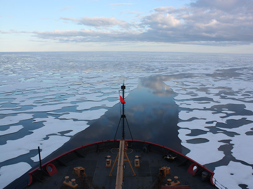 The U.S. Coast Guard Cutter Healy sails through sea ice in the Beaufort Sea