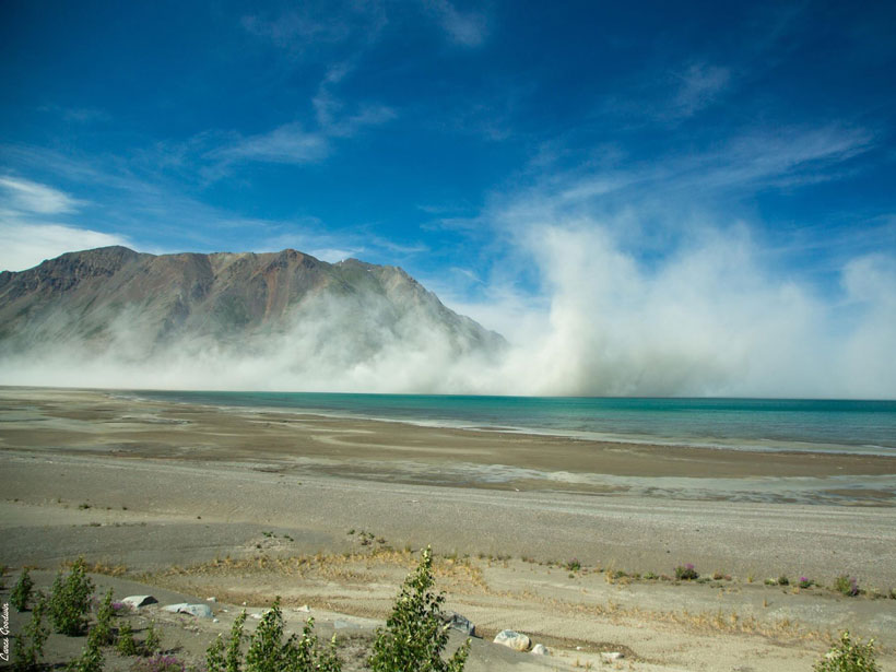 Dust cloud over the Ä'äy Chù/Slims River formed by a retreating glacier in Yukon, Canada