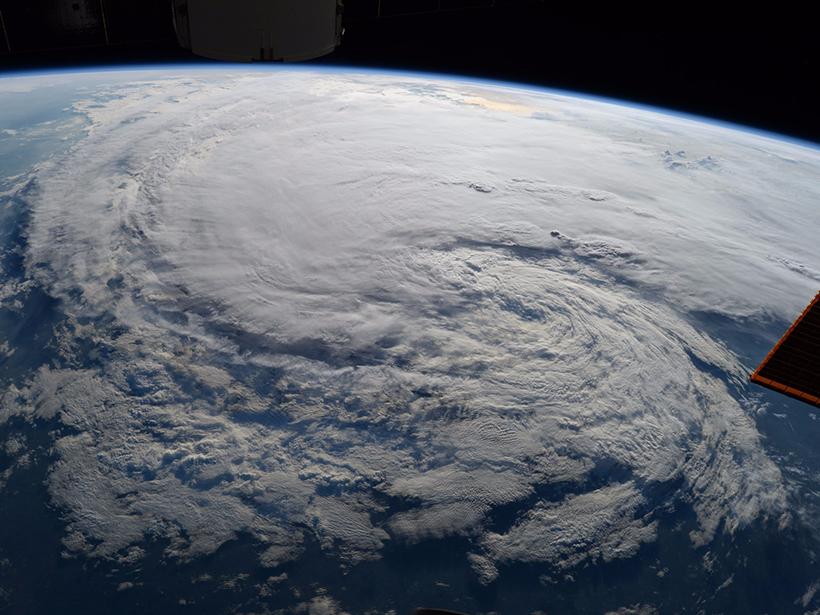 Satellite image of Hurricane Harvey swirling over the Texas coast