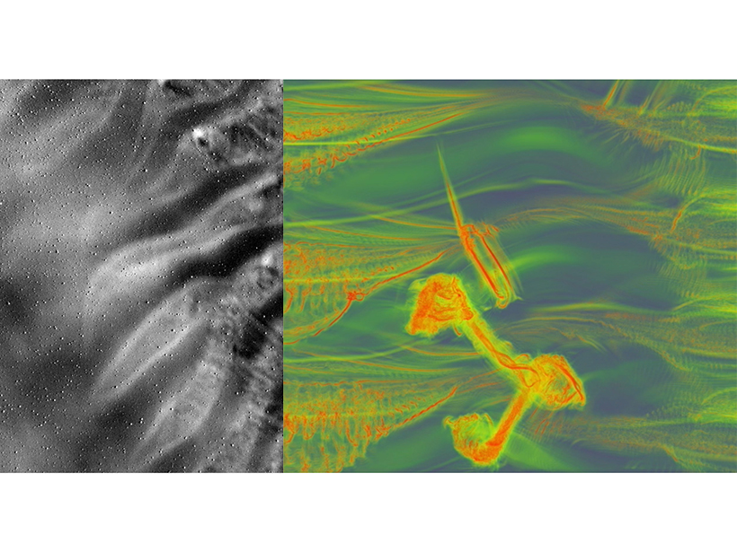 Pair of images depicting Kelvin-Helmholtz instabilities disturbed by background atmospheric gravity waves in the atmosphere (left) and in a simulation (right)