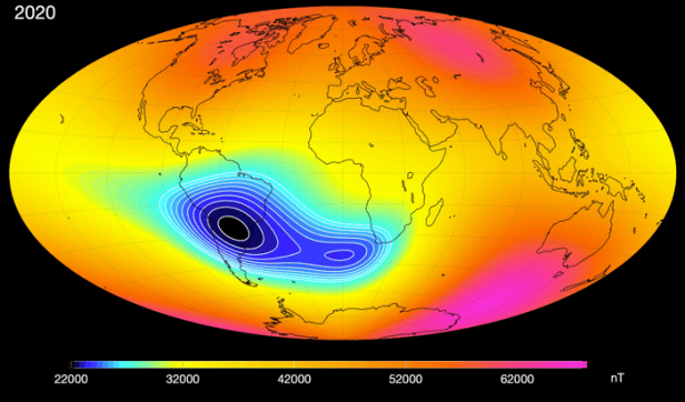 A map of magnetic intensity showing Earth's South Atlantic Anomaly