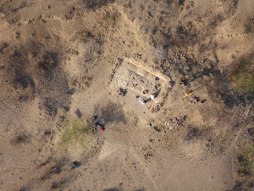 Aerial photo of a squared-off archaeological dig