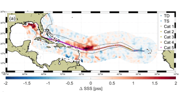 Map showing sea surface salinity response to Hurricane Irma in 2017