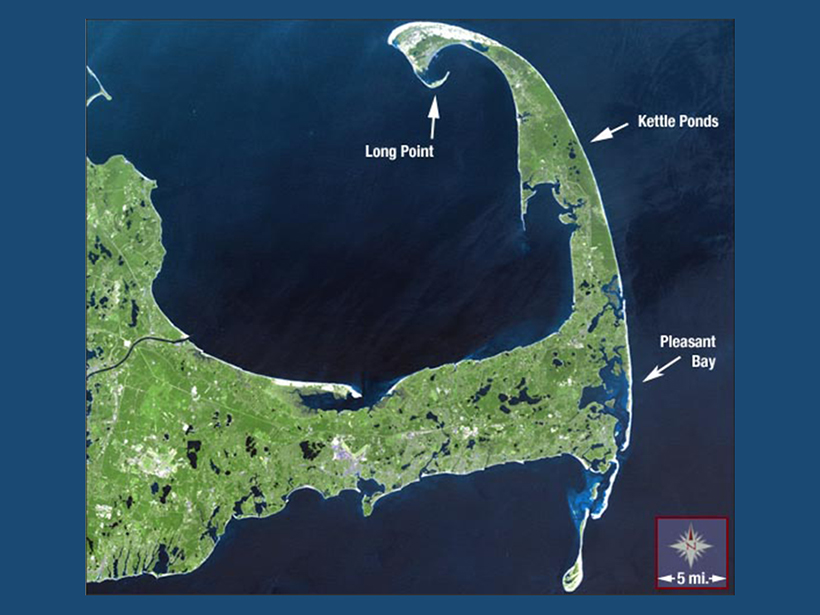 A satellite image of the entire arm of Cape Cod
