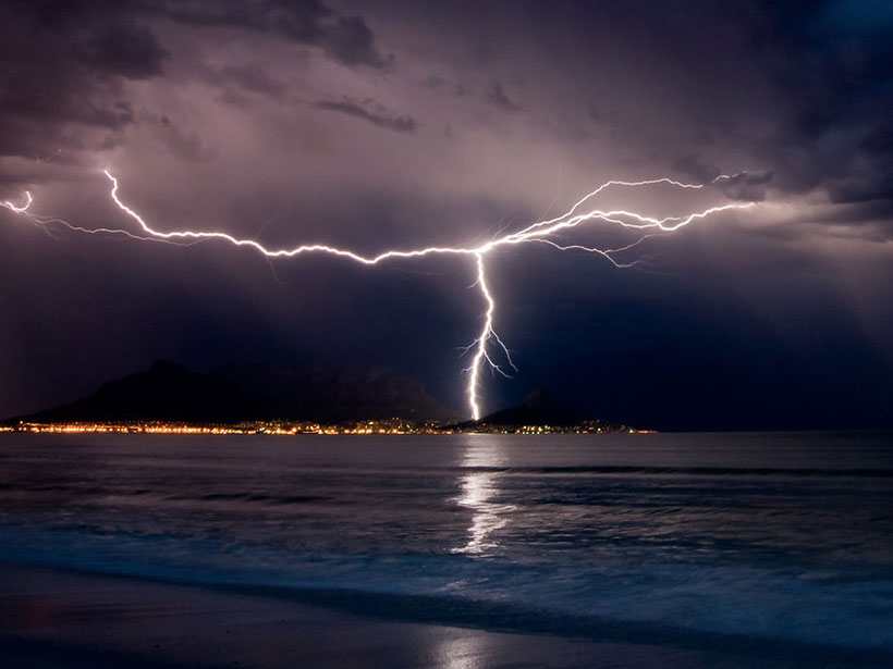 Lightning flashes over Cape Town, South Africa.