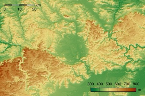 Topographic map of Nördlinger Ries crater in Germany