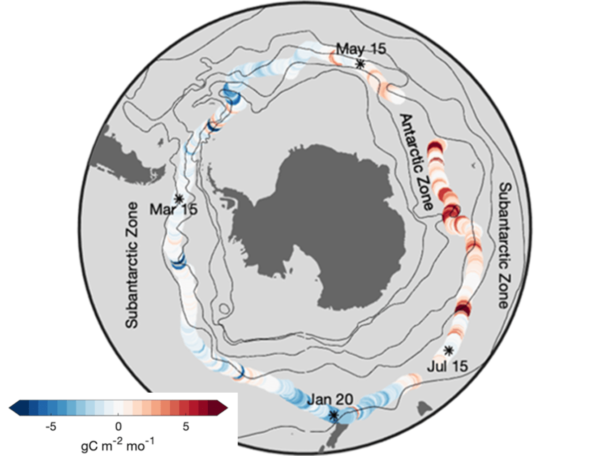 Map of the Southern Ocean showing the flux of carbon dioxide determined from the USV measurements during the 196-day circumnavigation of Antarctica