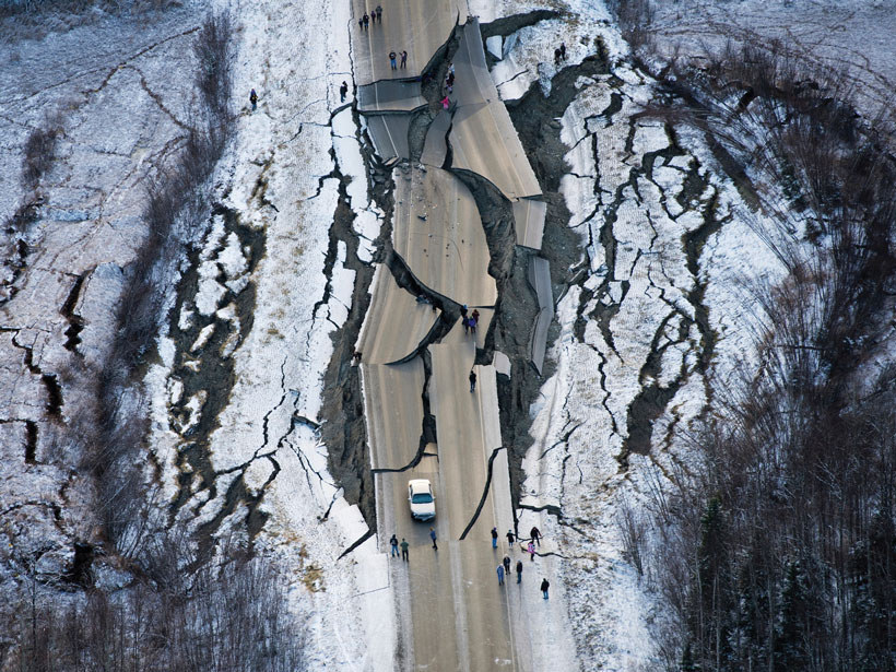 A road south of Wasilla, Alaska, and the ground around that was shattered by back-to-back magnitude 7 and 5.7 earthquakes.