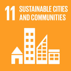 UN icon for SDG 11, Sustainable Cities and Communities