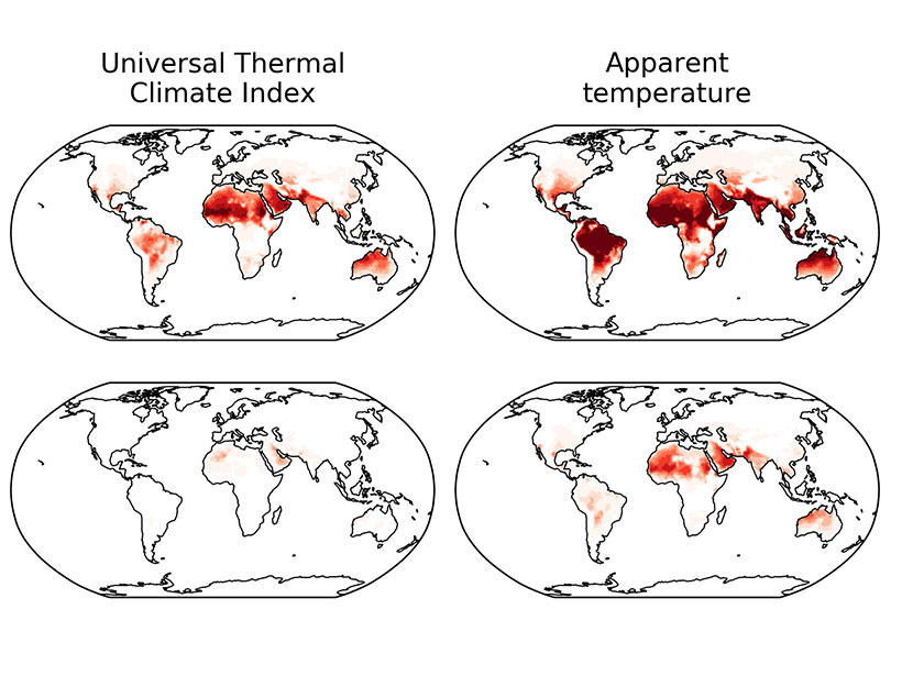 Different heat stress indicators change in different ways, but climate models project a clear trend of increasing heat stress worldwide.