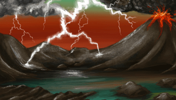 Illustration of a lightning storm over volcanic land on early Earth