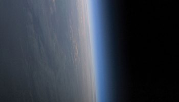 A view of Earth's thin atmosphere from the International Space Station.