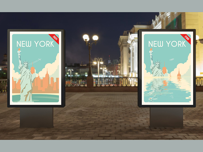 Tourist-style posters of sea level rise displayed in New York