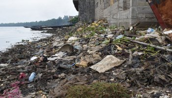 Plastic debris and other litter lines a creek shore in front of a partially constructed building