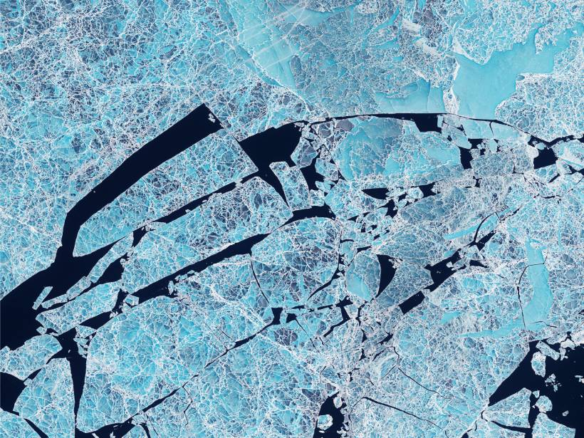 Satellite image of the icy Sannikov Strait