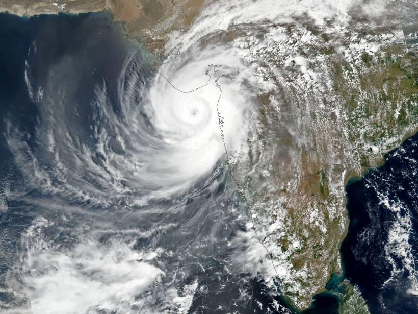 Satellite image of Cyclone Tauktae hitting India's west coast
