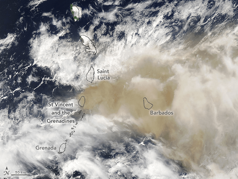 Outlines of Lesser Antilles islands and Barbados placed on top of satellite imagery of the Caribbean showing both white meteorological clouds and a plume of brown volcanic ash.