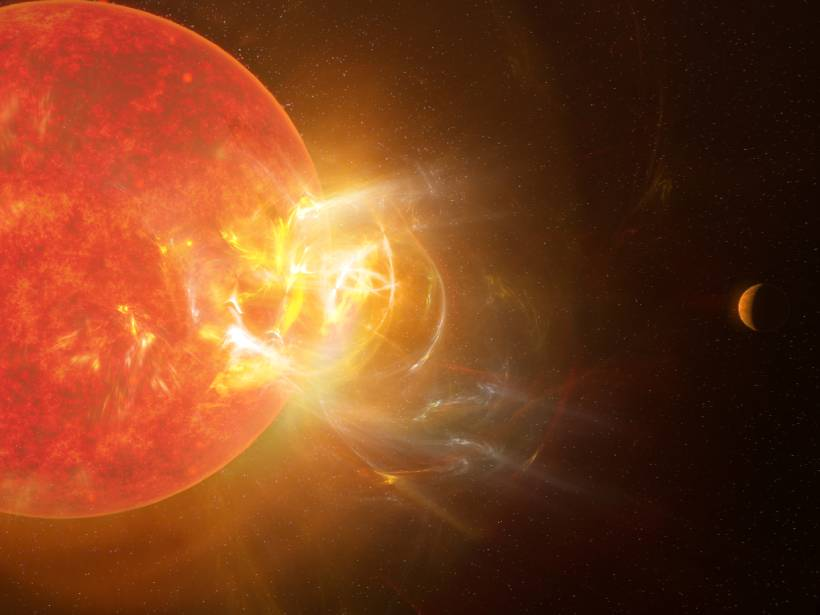 An enormous stellar flare erupts from Proxima Centauri in this artist's representation.
