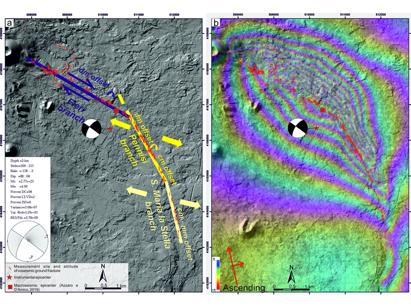 An arc-shaped coseismic shear belt associated with the 2018 Mw 4.9 earthquake at Etna volcano shows up on both mapping and InSAR.